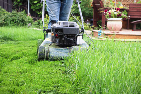 Clsoeup of a lawnmower cutting tall grass Stock Photo