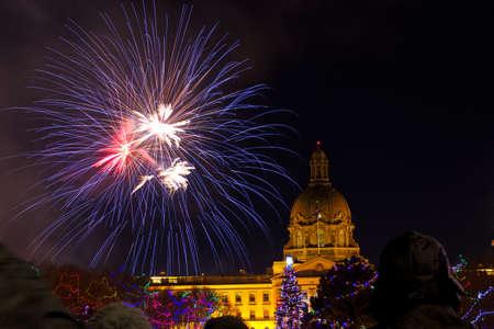 EDMONTON, AB - DECEMBER 31, 2018: New Years Eve fireworks at the Edmonton Legislature Grounds Editorial