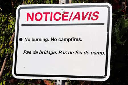 A notice no burning no campfires sign.
