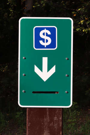 A money deposit box in a campground. Banco de Imagens