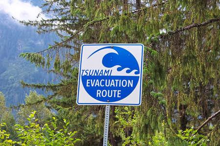 A blue tsunami evacuation route direction sign. Banco de Imagens