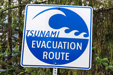 A blue tsunami evacuation route direction sign