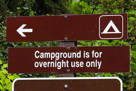A campground is for overnight use only sign