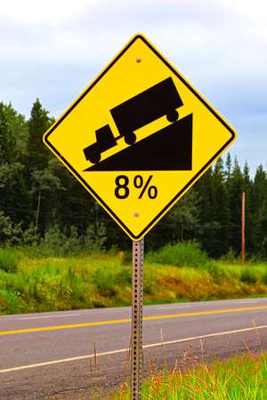 An eight percent hill grade sign warning