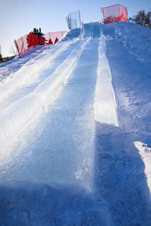 View looking up an ice slide hill