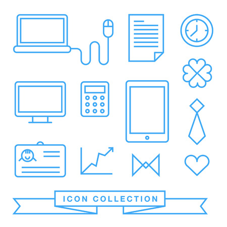 clover face: Communication technology devices web icons Illustration