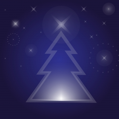 night background: Christmas tree  Christmas night background  Illustration