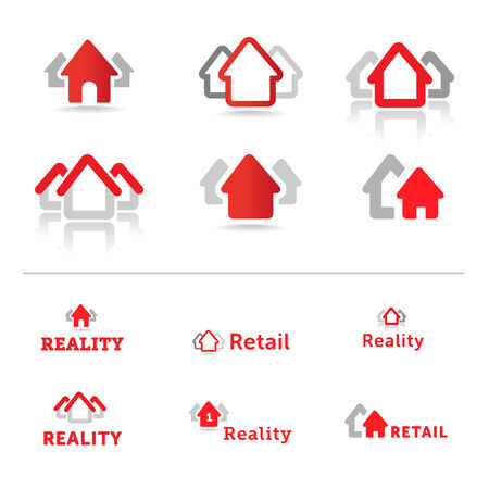 reality: House icons  Retail and reality concept  Real estate