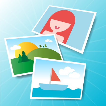 photo icons: Photo icons in vector  Landscape photo vector