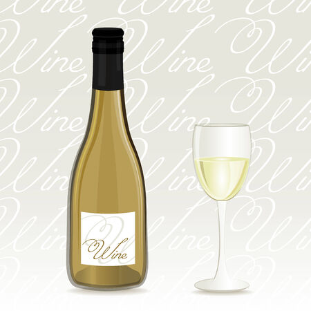 botle: White wine bottle and glass background Illustration