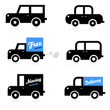 Car icons  Vehicles  Delivery  Cars illustrations  Vector