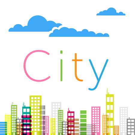 clouds scape: City buildings background Illustration