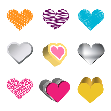 Love hearts icons  Love collection  Vector