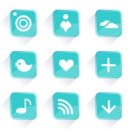 computer icons: Computer icons  Vector icons and buttons  Social media blue buttons  Web icons and buttons in vector  On line concept  Communication icons  App buttons  Internet concept  Illustration