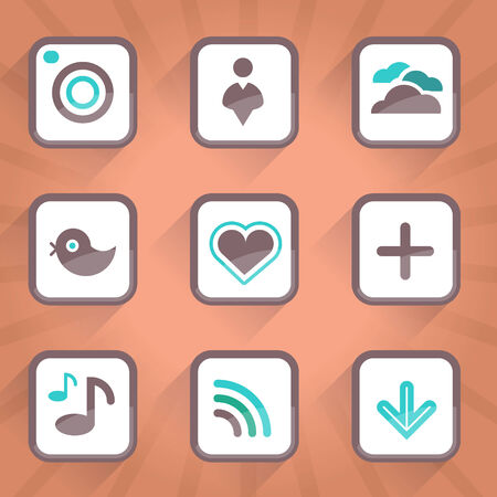 Vector icons and buttons  Vector icons  Web buttons  Social media buttons and icons  Vintage buttons  Computer icons  Computer buttons  Online  Vector