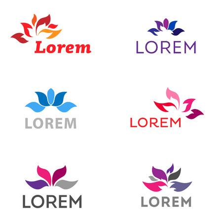 Zen lotus flower icons and symbols  Flower logo template  Illustration