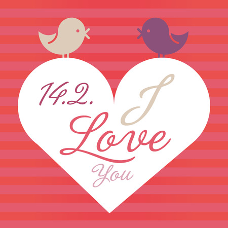 Love Valentine vector with heart and birds  Cute romantic background  Vector