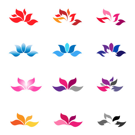 Flower logotypes and icons  Zen flower  Flower vector  Vector