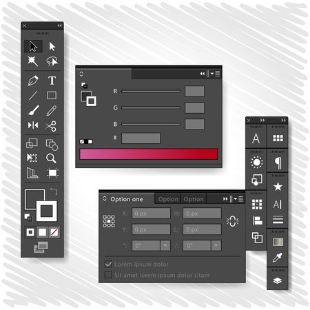 creativity concept: Graphic design tools icon palettes  Creativity concept