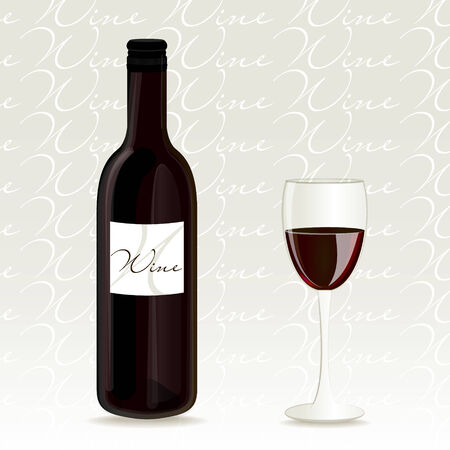 botle: Red wine vector bottle and glass