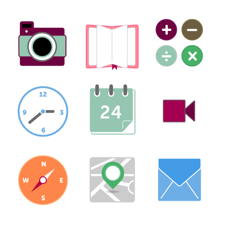 Set of icons and buttons  Application buttons and icons  Online icons  Web icons  Colorful buttons  Vector