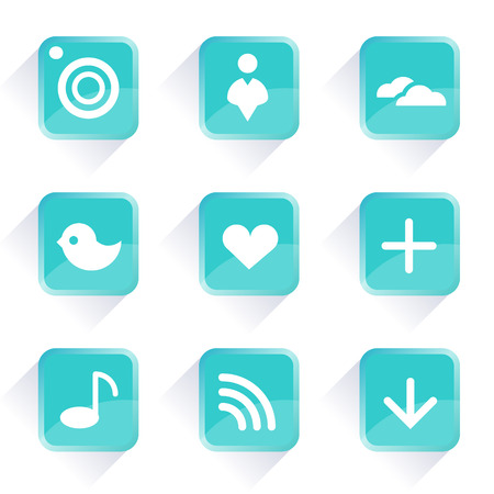 Computer icons  Vector icons and buttons  Social media blue buttons  Web icons and buttons in vector  On line concept  Communication icons  App buttons  Internet concept  Vector