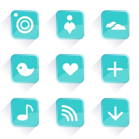 tweet icon: Iconos vectoriales Iconos de equipo y botones de medios sociales botones de color azul iconos y botones del Web en iconos vectoriales en el concepto de l�nea de comunicaci�n concepto botones de la aplicaci�n de Internet