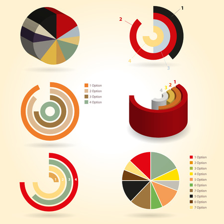 Infographics design pies and graphs  Survey and research information results  Vintage retro graphs  Economics  Vector