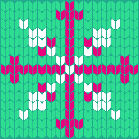 Knitted Snowflake Texture Pattern Knitted Vector Snowflake Royalty