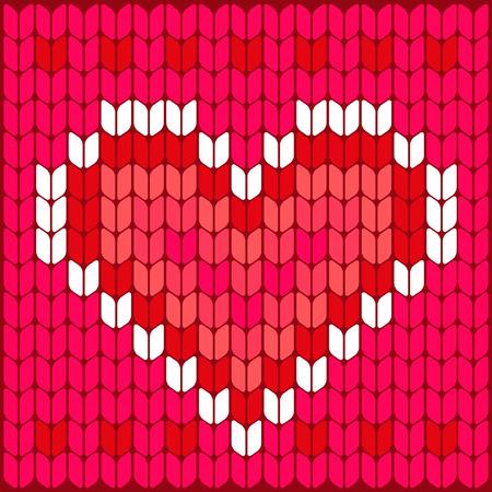 knitted background: Fondo Patr�n de la textura del coraz�n hecho punto hecho punto Concepto de la boda de fondo de san valent�n Vectores