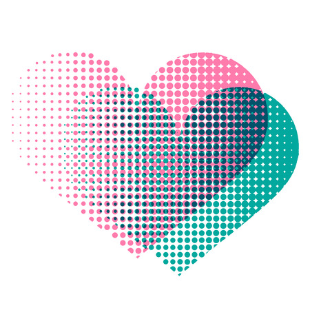 Love heart with raster spotted pattern Illustration