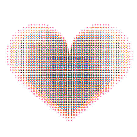 elipse: Love heart with raster spotted pattern Illustration