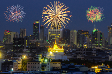 Golden Mountain Temple with Fireworks in Bangkok, Thailand