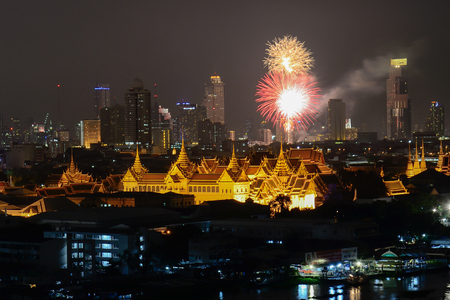 thailand s landmarks: Grand Palace with Fireworks in Bangkok