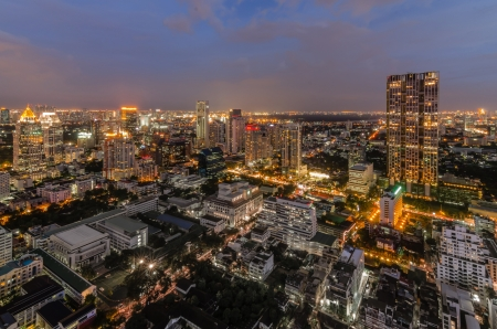 silom: Ariel view of a Modern Commercial City  Bangkok Business District Stock Photo