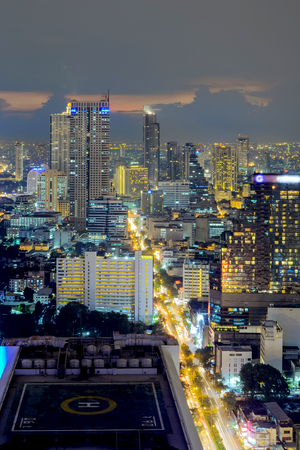 ariel: Ariel view of a Modern Commercial City  Bangkok Business District Stock Photo