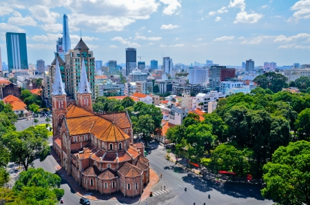 Notre Dame Cathedral on Paris Square in central Ho Chi Minh City, Vietnam