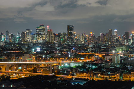 ariel: Ariel view of a Modern Commercial City  Bangkok Business District in night