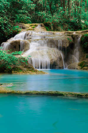 The waterfall name is  Huay Mae Khamin Stock Photo - 25492435