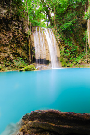 The waterfall name is  Huay Mae Khamin Stock Photo - 25492436