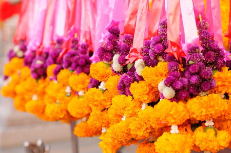 hang body: marigold Garlands in temple