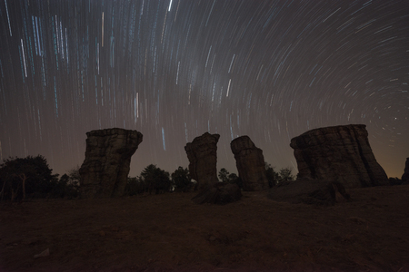 Startrail over stone at Mor hin khao,Thailand