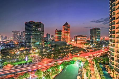 silom: Bangkok in night Stock Photo