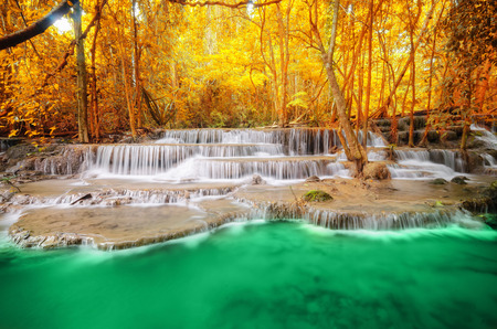 Deep forest Waterfall in Kanchanaburi Stock Photo - 26099742