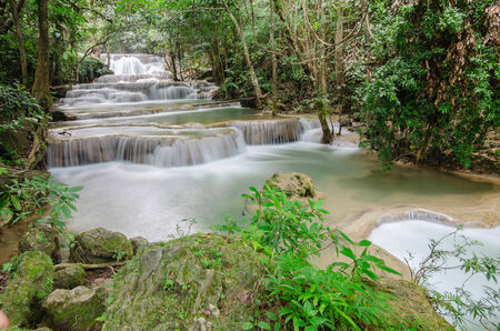 Deep forest Waterfall in Kanchanaburi Stock Photo - 26099700