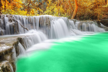 Deep forest Waterfall in Kanchanaburi Stock Photo - 26099701