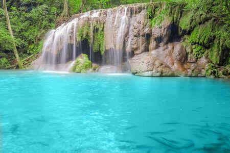 Deep forest Waterfall in Kanchanaburi Stock Photo - 26099703