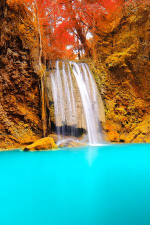 Deep forest Waterfall in Kanchanaburi Stock Photo - 26099706