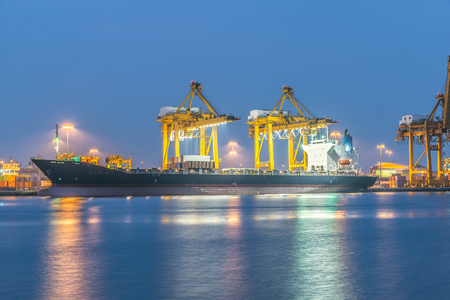 marine industry: Industrial shipping port in Bangkok, Thailand