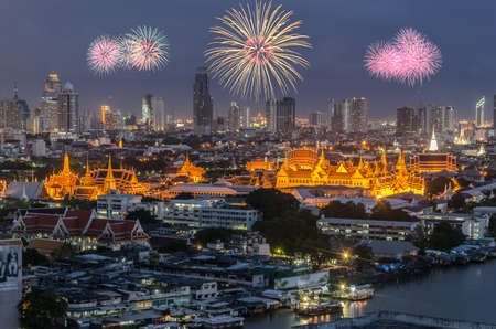 Panorama Grand Palace of Thailand with fireworks photo
